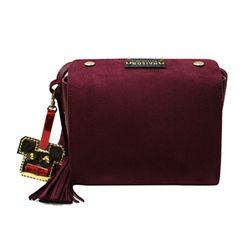 DOSIRAK SUEDE BURGUNDY RED-SHOULDER BAG