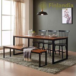 핀란디아 베젤 6인식탁세트(의자3벤치1)