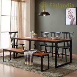 핀란디아 베젤 6인식탁세트(의자4벤치1)