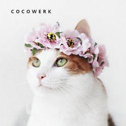 Miyopet 연핑크동백 화관 강아지 고양이 머리띠 모자