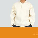 [다흰] 남자 라운드 잔골 누비 티셔츠-면누빔-2color