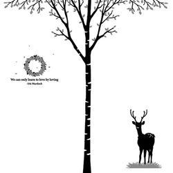 [나무] 자작나무 싱글 - 심플 플라워 & 사슴