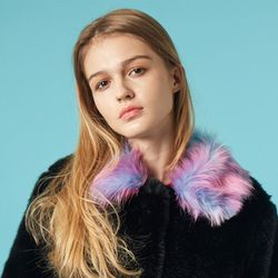 Rainbow Pony Collar Fur Coat