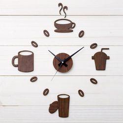 붙이는 아트월 인테리어 DIY벽시계 우드시트-커피