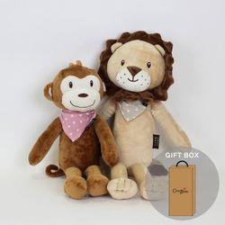 아기정글과내친구차차애착인형2종(원숭이인형사자인형