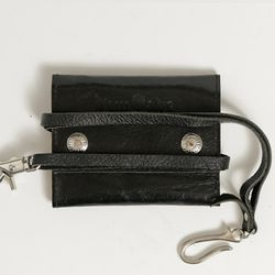 DEMONADE glossy leather strap wallet (BLACK)