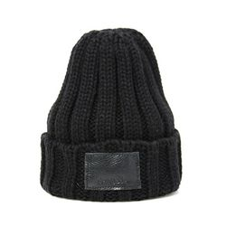 DEMONADE leather name BEANIE (BLACK)