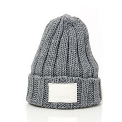 DEMONADE leather name BEANIE (GRAY)