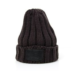 DEMONADE leather name BEANIE (CHARCOAL)