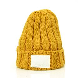 DEMONADE leather name BEANIE (MUSTARD)
