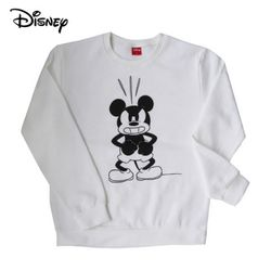 디즈니 앵그리 미키 맨투맨 티셔츠기모화이트정품