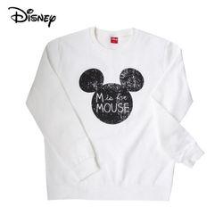 디즈니 마우스 미키 맨투맨 티셔츠기모화이트정품
