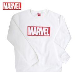 마블 로고티 맨투맨 티셔츠기모MARVEL화이트정품