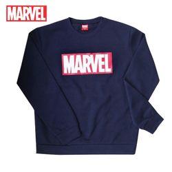 마블 로고티 맨투맨 티셔츠기모MARVEL네이비정품