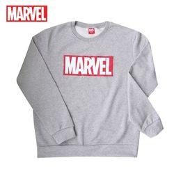 마블 로고티 맨투맨 티셔츠기모MARVEL그레이정품