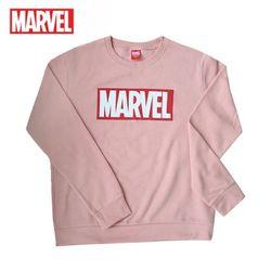 마블 로고티 맨투맨 티셔츠기모MARVEL인디핑크정품