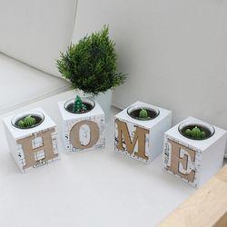 인테리어소품 캔들홀더 HOME (4pcs) - 화이트