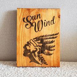 태양과 바람 인디언 원목 그림액자  170x230mm