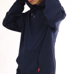 DOUBLE LAYERED HOODIE NAVY
