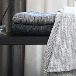 Herringbone Wool Blanket. 3color 베드러너용 Q220