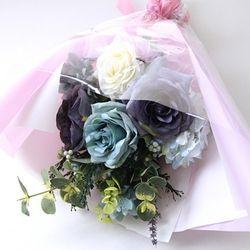 투톤블루 장미꽃다발