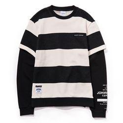자니카슨 스트라이프 레이어드 스웨트셔츠 - BLACK