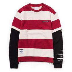 자니카슨 스트라이프 레이어드 스웨트셔츠 - RED