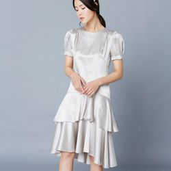 [클레어드룬] SILK RUFFLE DRESS GRAY