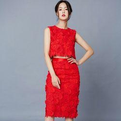 [클레어드룬] FLORAL LACE SKIRT RED