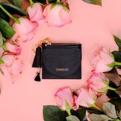 태슬+미니에코백 French Card Wallet - Black