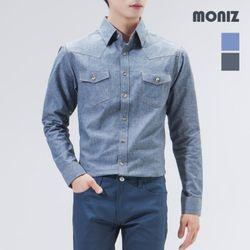 [모니즈] 포켓 체크 배색 데님셔츠 SHT402