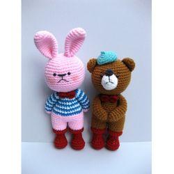 손뜨개인형 DIY-빨간장화친구들-토끼+곰