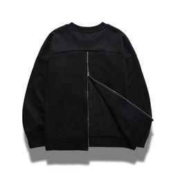 [X] 백 지퍼 맨투맨 - 코어 블랙