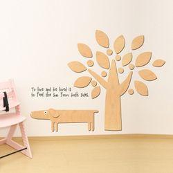 우드스티커- 강아지와나무 (반제품) 아이방스티커