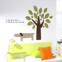우드스티커- 강아지와나무 (컬러완제) 동물스티커