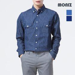 [모니즈] 스트라이프 투포켓 데님셔츠 SHT412