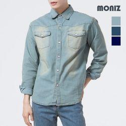 [모니즈] 녹워싱 투포켓 데님셔츠 SHT411