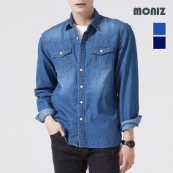 [모니즈] 워싱 투포켓 데님셔츠 SHT426