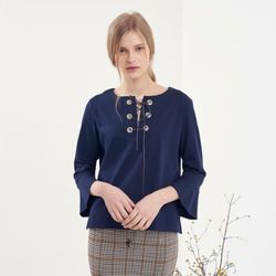 EYELET POINT BELL SLEEVE T-SHIRTS
