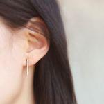 크리스탈 바 14K Gold Dipped Earrings