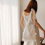 Ribbon satin shoulder bag (white)