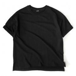 [레이쿠] reiku overfit roll-up short sleeve black