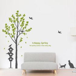 ig108-봄을맞이하는새들과나무그래픽스티커