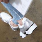 [쿠루] 여성 3.5cm 가죽 투톤 스포티 스니커즈 G4602