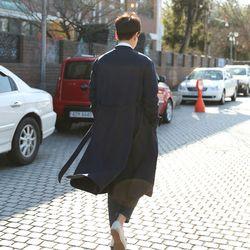 한복 두루마기 - 남성 트렌치 도포 코트 [네이비]