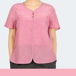 컬러 잎 단추 반팔 티셔츠-인견-4color