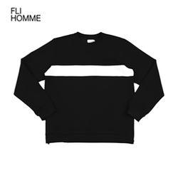 [FLI HOMME] 라인 절개 맨투맨 - 블랙