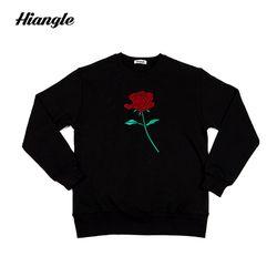 [HIANGLE] 장미 맨투맨 - 블랙