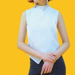 쪽지 하이넥 블라우스  high necked collar blouse