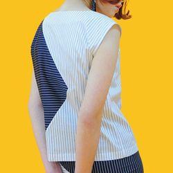 스트라이프 민소매 블라우스 stripe  blouse